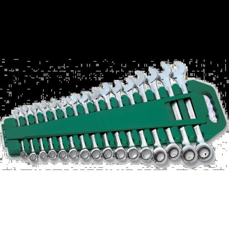 JONNESWAY W45516S Набор ключей комбинированных трещоточных 8-24 мм 16 предметов