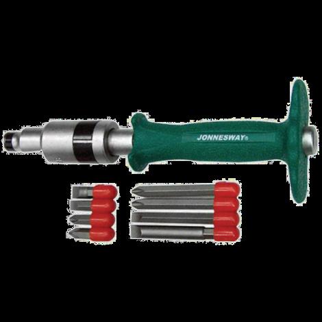 JONNESWAY AG010139 Набор ударных отверток SL 8, 10 (36, 80 мм), PH# 2, 3 (36, 80 мм), 5 предметов