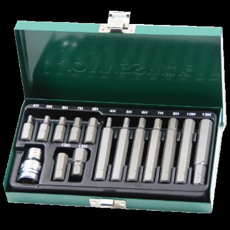 JONNESWAY S29H4115S Набор вставок-бит 10 мм шестигранных Н4-12 мм. (30 и 75 мм), 15 предметов