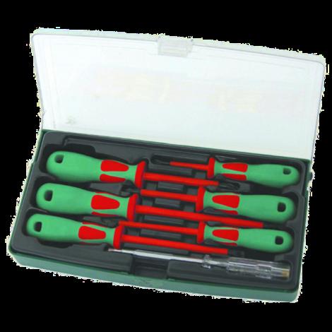 JONNESWAY DV13PP07S Набор отверток диэлектрических PH# 0х60, 1х80, 2х100, SL 4х100, 5,5х125, 6,5х150, индикаторная отвертка 220-250V, 7 предметов